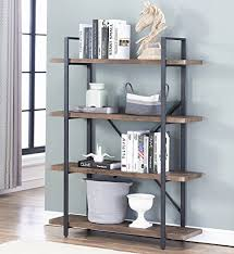 industrial style shelving. O\u0026K Furniture 4-Shelf Open Bookcase, Vintage Industrial Style Bookshelves, Brown By Shelving