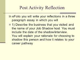 senior culminating project ppt  21 post activity reflection