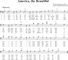 America The Beautiful Chords Lyrics And Bass Clef Sheet