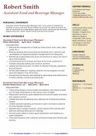 Assistant Food And Beverage Manager Resume Samples Qwikresume