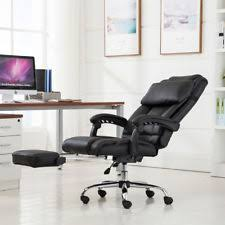 Office reclining chair High Back Executive Reclining Office Chair Ergonomic High Back Leather Footrest Armchair Instockchairscom Reclining Office Chair Ebay