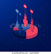 Pie Chart On Isolated Background Isometric Pie Charts Different Heights Business Data Colorful Elements With Neon Light For Infographics Vector