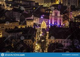 Christmas Lights For Street Lights Street Lights For Christmas At Night In Ljubljana Slovenia
