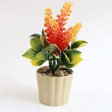Office Flower Mini Lifelike Nature Modern Design Decorative Artificial Faux Tabletop Plastic Potted Flower Plant Planter Pots Vases Home Office Decor