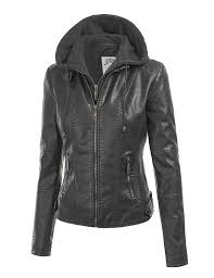 made by johnny mbj womens faux leather motorcycle jacket with hoo at women s coats