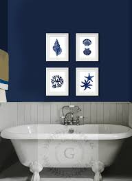 >inspirational design ideas navy blue wall decor best interior  inspirational design ideas navy blue wall decor best interior coastal art set of 4 beach seashells starfish bathroom