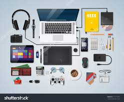 designer office desk isolated objects top view. Top View Of Desk Background With Laptop, Digital Devices, Office Objects, Books And Documents. - 271211702 : Shutterstock Designer Isolated Objects