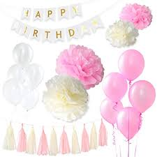 happy birthday pink and green greenbic pink white and gold birthday decorations bundle includes