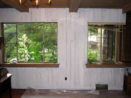 image of painted wood paneling before and after photos