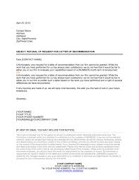 Letter Of Recommendation For A Business Template Refusal Of Request For Letter Of Recommendation Template