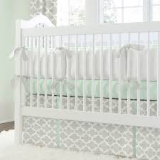 french gray and mint quatrefoil crib bedding  neutral bedding