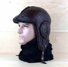 sheepskin hat and brown leather real grey aviator trapper fur best pattern