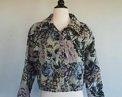 carpet jacket. black friday sale vintage floral cropped carpet jacket. womens medium. large. grunge jacket