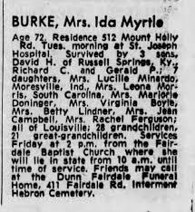 Obituary for Ida BURKE (Aged 72) - Newspapers.com