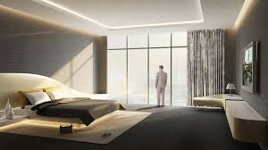 Bedroom: Fashionable Big Bedroom Design With Modern Cream Bed Design  Combined Adorable Lighting Ideas Also