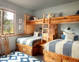 bedroom design for kids. Hint Of Blue And Silvery Gray Enliven The Rustic Bedroom [Design: Hunter Company Design For Kids