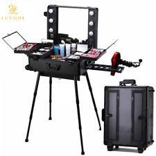 item 1 pro rolling makeup artist station train case trolley table stand with led lights pro rolling makeup artist station train case trolley table stand