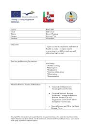 ... CV - Lesson Plan Turkey. This project has been funded with support from  the European Commission.This publication [communication ...