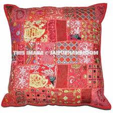 24 x 24 Red pillow cases Indian Embroidered Throw Pillows For Couch-Jaipur  Handloom ...