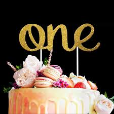 Amazoncom One Cake Topper Stunning 1st Birthday Gold Party