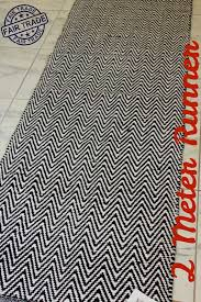 2 meter long chevron zig zag floor runner black white woven cotton contemporary rug