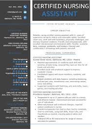 Nursing Assistant Resume Objective Certified Nursing Assistant Cna Resume Sample Writing