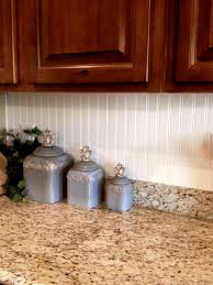 Kitchen Backsplash Panel Magnificent Brown Wooden Cabinets With White Beadboard Backsplash