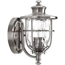 progress lighting beacon collection 1 light 6 inch stainless steel outdoor wall lantern