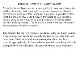 College Prompt Essays Common Terms In Ap Essay Prompts Since This Is A College