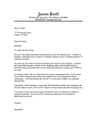 Marketing Cover Letter With No Experience Jason Kroll Writing