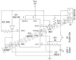 555 rc servo tester circuit the schematic of the rc servo tester circuit
