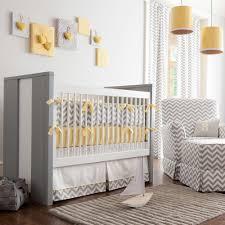 gray and yellow zig zag baby crib bedding