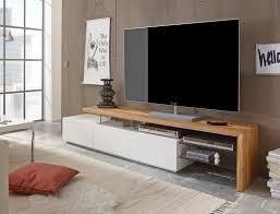 Delightful Lowboard 204x40x44cm Weiß Eiche TV Board TV Möbel TV Schrank Wohnzimmer  Alessa I