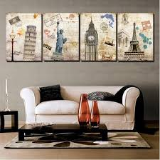 wall painting building city home decorative art picture paint on canvas prints hot sell home decor architecture painting wall art painting classical canvas  on 4 piece wall art set with wall painting building city home decorative art picture paint on
