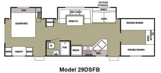 Charming Manificent 3 Bedroom Rv Floor Plan New 2012 Forest River Rv  Cherokee Grey Wolf 29dsfb Travel Trailer