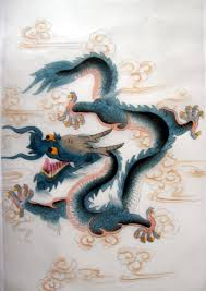 feng shui chinese blue dragon silk painting chinese feng shui dragon
