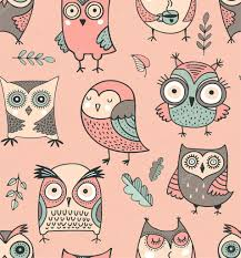 Owl Pattern Inspiration Cute Hand Drawn Owl Pattern Vector Watercolor Illustrations