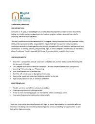 Resume For Caregiver Job Caregiver Job Description Resume And Caregivers Job Description 14