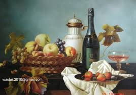 still life oil painting on canvas wine bottle and fruits for still life oil painting manufacturer from china 90771324