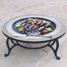 trueping beacon star round outdoor garden mosaic coffee table fire pit 76cm integral charcoal burner patio firepit bbq grid spark guard