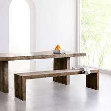 emmerson reclaimed wood dining bench stone gray