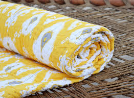 Quilted bedspread, ikat print, yellow cotton quilt, | Discovered &  Adamdwight.com