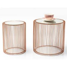 copper wire side table pair of tables
