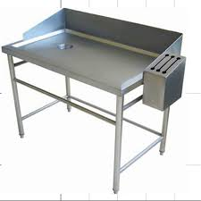 supermarket used stainless steel fish cleaning table with head board