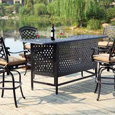 darlee sedona 5 piece cast aluminum patio party bar set with swivel bar stools antique