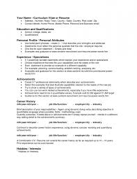 Resume Personal Attributes Examples - Template