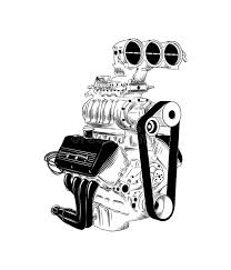 Vector Sketch Of Car Engine Stock Vector Illustration Of