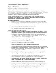 Sales Associate Job Description Resume Sales Associate Job Description Resume Fresh Retail Sales Associate 19