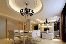 floating gypsum ceiling with dark crystal chandelier above modern rectangular table for 6 chairs beside family room layout combo