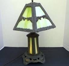 tiffany style yellow dragonfly table lamp with lighted base antique lead green slag glass old